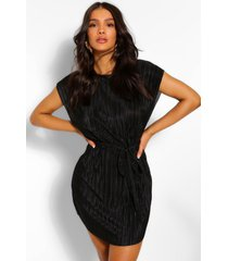 plisse shift dress, black