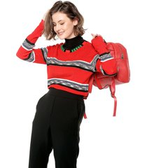 saco rojo-negro-blanco desigual