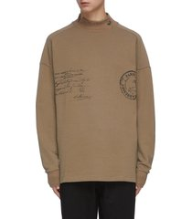 text print mock neck sweatshirt