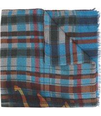 etro check print selvedge scarf - blue