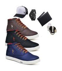 kit 3 pares sapatênis polo blu casual café/preto/azul acompanha cinto + meia + carteira + relógio + boné
