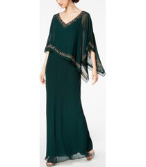j kara bead-embellished cape gown