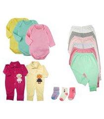 kit roupa de bebê 15 peças enxoval dia a dia menino menina rosa