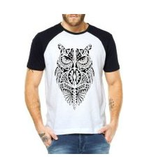 camiseta raglan criativa urbana coruja tribal