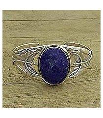 lapis lazuli floral bracelet, 'sea blossom' (india)