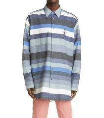 jw anderson logo stripe oversize flannel shirt, size small - blue