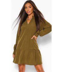 balloon sleeve peplum hem shift dress, khaki