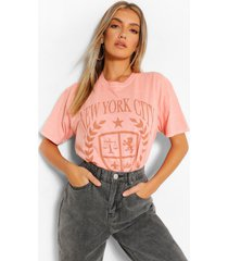 gebleekt new york city t-shirt met opdruk, terracotta