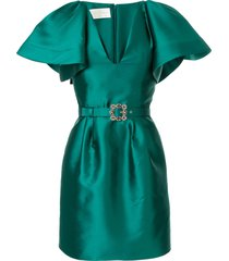 alberta ferretti crystal embellished mikado dress - green