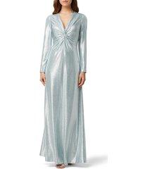 women's tahari long sleeve twist metallic gown