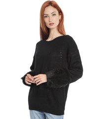 sweater brave soul veggie negro - calce oversize