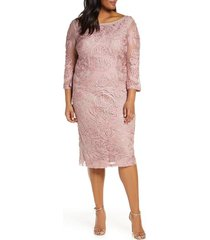 plus size women's js collections soutache cocktail dress, size 16w - pink