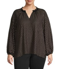 bobeau women's plus polka dots woven top - gold foil - size 1x (14-16)