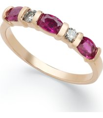 14k rose gold ring, ruby (1 ct. t.w.) and diamond (1/8 ct. t.w.) ring