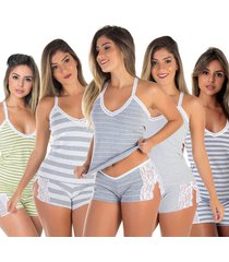 pijama para dormir grã©cia kit 5 - preto - feminino - dafiti