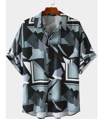 men casual geometric all over print shirt