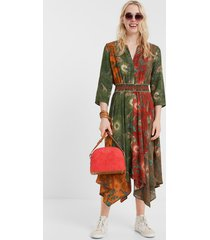 ethnic asymmetric dress - green - 46