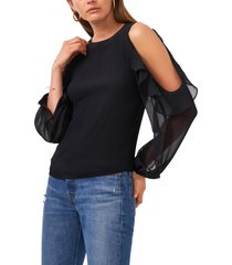 1.state ruffle plisse cold shoulder top, size x-large in rich black at nordstrom