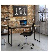 mesa de escritório studio marrom escuro 135 cm