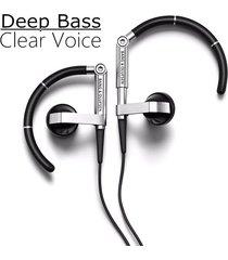 audífonos bluetooth deportivos, b & o a8 earhook metal hifi estéreo auriculares auriculares deportivos (negro)