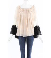 chloe silk crepon pleated blouse