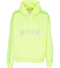 free' silver-toned embroidered slogan currency hoodie