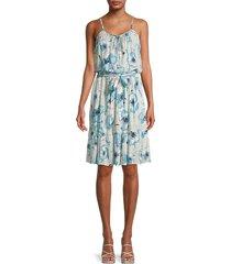 calvin klein women's belted floral dress - mykonos multi - size 4
