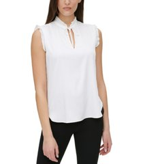 dkny petite pleated-trim top