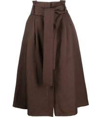 p.a.r.o.s.h. raisa belted a-line skirt - brown