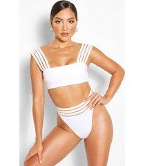 mesh detail bandeau bikini top, white
