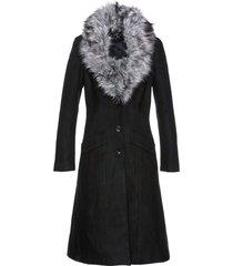 cappotto con collo in ecopelliccia (nero) - bpc selection