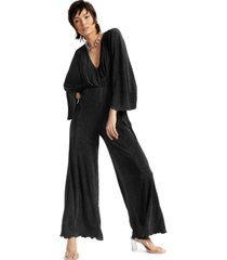 inc international concepts textured cinched-waist jumpsuit, created for macy's