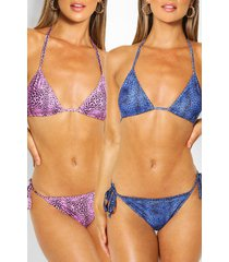 2 pack triangle bikini, multi