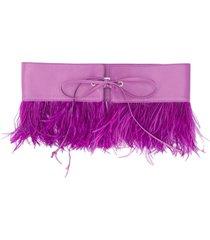 the attico feather embellished belt - purple