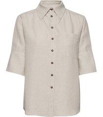 roda sashiko shirt overhemd met korte mouwen crème residus