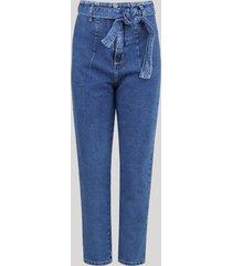calça jeans feminina sawary clochard mom skinny cintura super alta com faixa para amarrar azul médio