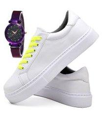 tênis sapatênis casual fashion com relógio luxury feminino dubuy 310el branco