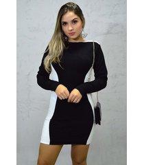 vestido curto tricot manga longa ivette preto