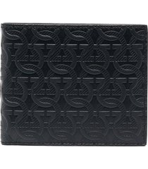 salvatore ferragamo gancini-embossed folding wallet - blue