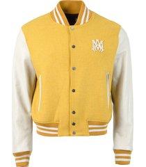 letterman jacket, mustard