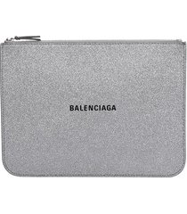 balenciaga everyday pouch clutch in silver leather