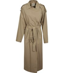 bottega veneta long belted trench
