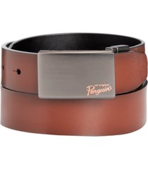 penguin men's plaque-buckle nappa leather belt