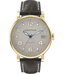 grayton women's classic collection brown crocodile-embossed leather strap watch 36mm