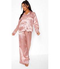 premium pyjama set met broek, steentjes en knopen, rose gold