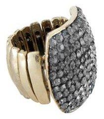 anel armazem rr bijoux quadrado cristais cravejados - feminino