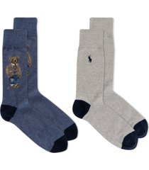 polo ralph lauren men's savannah bear socks 2-pack