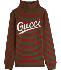 gucci striped cotton sweater with logo