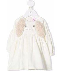il gufo rabbit-print long-sleeved dress