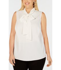 bar iii trendy plus size bow-neck blouse, created for macy's